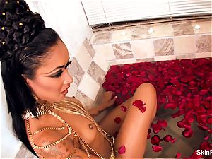 provocative vampy skin gets a wicked fat man sausage in the tub