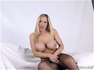 multiracial porno with huge-boobed cougar Olivia Austin and her dark-hued fucker