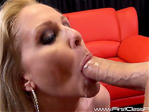 kinky cooch pot milf Julia Ann blowing on a gigantic pipe and getting a enormous fountain to her knockers