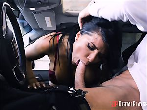 Romi Rain banged in the back of the car
