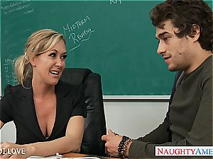 ash-blonde schoolteacher Brandi love railing pink cigar in classroom