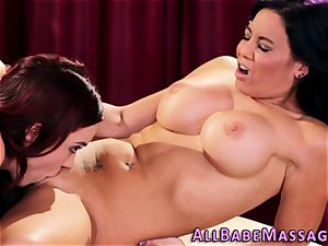huge-titted milf tongues masseuse