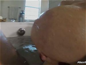 big-boobed Alison Tyler takes a bathtub