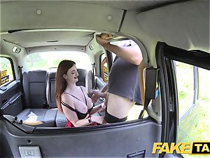 fake taxi Olive skin ginger-haired in underwear