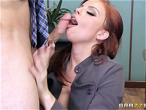 red-haired manager Britney Amber romps a insatiable worker