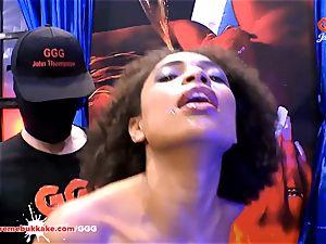 beautiful black Latina Luna Corazon bellows in enjoyment