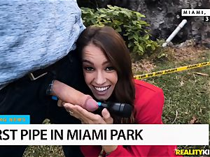 burst spear pours out somewhere in Miami Park - Charity Crawford