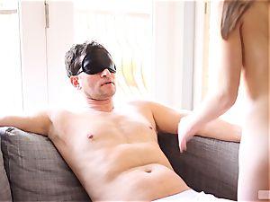 slender stunner Alice March blindfolds and ravages her boyfriend