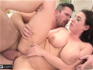 Angela fellates her own fun bags as she's romped in the ass