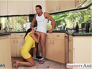 brown-haired wifey Rachel Starr taking boner in kitchen