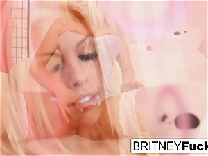 super-hot blonde hottie Britney plays with a electro-hitachi