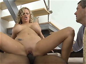 Frustrated wifey Katie Kox gets smashed on a table in front of her guy