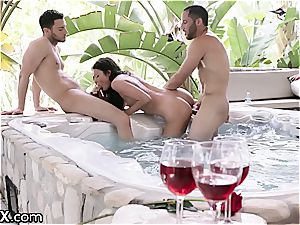 slender beauty Adria seduces two studs to delight her snatch