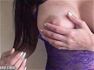 SunnyLeone Sunny Leone in handsome purple lingerie