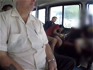 Karmen Bella tears up her stud on a crowded bus