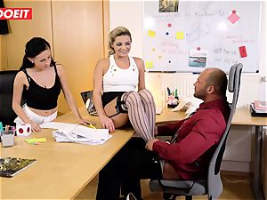 Stepdaughter joins dad in porking the office assistant