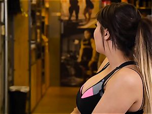 japanese beauty London Keyes pummels her fellow after a exercise
