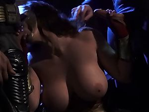 Alison Tyler plows two horny superheroes