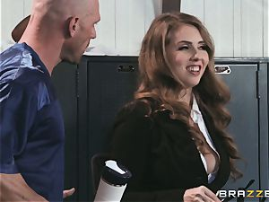 buxom news reporter Lena Paul pummeled in the locker room