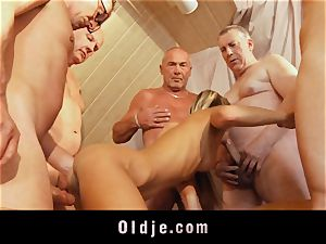 old college group plumb featuring thin youthfull blonde