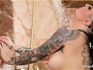 superstar Christy Mack plays with herself in the bathroom