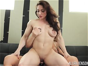Alura Jenson vagina crammed with belt cock strenuous muscular chick Brandi May