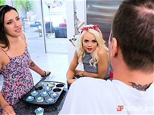 penetrating rod deep into Elsa Jean nuts deep in the kitchen