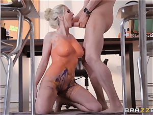 Christie Stevens leaned over and poked from the rear
