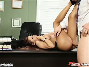 Mature boy tests his fresh secretary in office