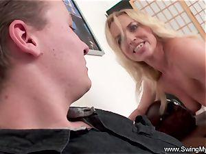 blond German Swinger wife pummels big black cock