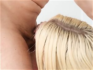Anikka Albrite gets a faceful of cream colored spunk